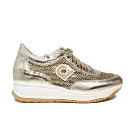Agile by Rucoline sneaker traforata con zeppa color oro articolo 1304-82983 1304 A NETLAM
