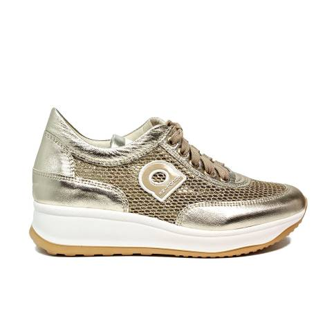 Agile by Rucoline perfored sneaker with wedge gold color article 1304-82983 1304 A NETLAM