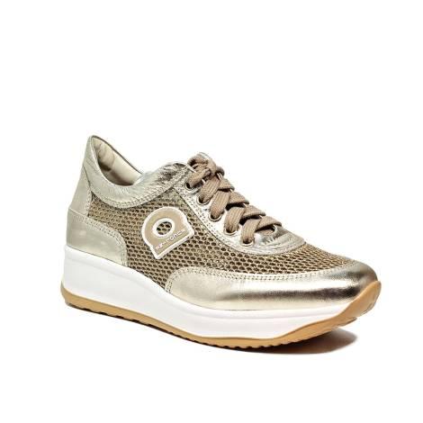 Agile by Rucoline sneaker traforata con zeppa color oro articolo 1304-82983  1304 A NETLAM 8feac996735