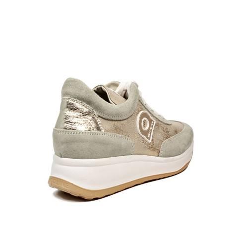 Agile by Rucoline sneaker stringata con zeppa color oro