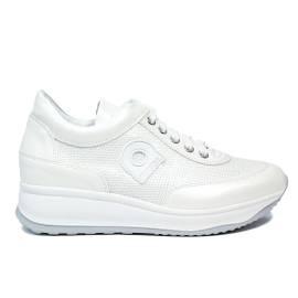 Agile by Rucoline sneaker bianca stringata con paillette con zeppa articolo 1304-83032 1304 A DORA STAR