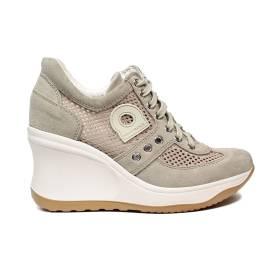 Agile by Rucoline sneaker donna traforta con zeppa alta color beige articolo 1800-82627 1800 A CHAMBERS LEON