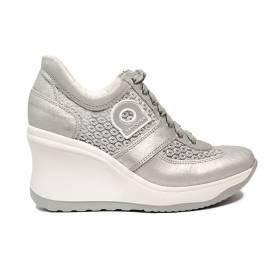 Agile by Rucoline sneaker donna con pizzo e zeppa alta color argento articolo 1800-82984 A DALIDA NET 1215