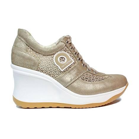 Agile by Rucoline sneaker donna con pizzo e zeppa alta color oro articolo 1800-82984 A DALIDA NET 1215
