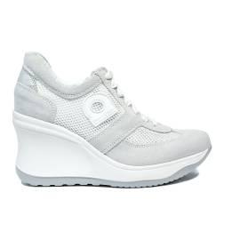 Agile by Rucoline sneaker donna bianca traforata e zeppa alta articolo 1800-83014 1800 A AT 627 RIND