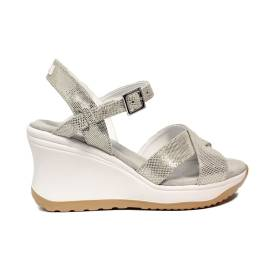 Agile by Rucoline sandal with strap with high wedge platinum color article 1871-83041 1871 A SAMBUCO