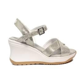 Agile by Rucoline sandalo con zeppa alta e cinturino color platino articolo 1871-83041 1871 A SAMBUCO