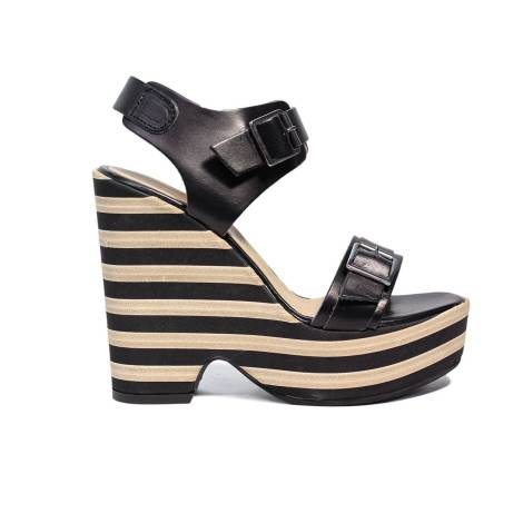 Fornarina woman sandal with high wedge black and beige color PE17PY1008C000 PRETTY-BLACK CALF