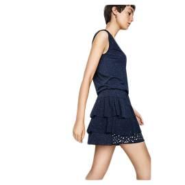 Desigual 71V2GN4 5001 vestito corto donna color blu con contrasti in bianco