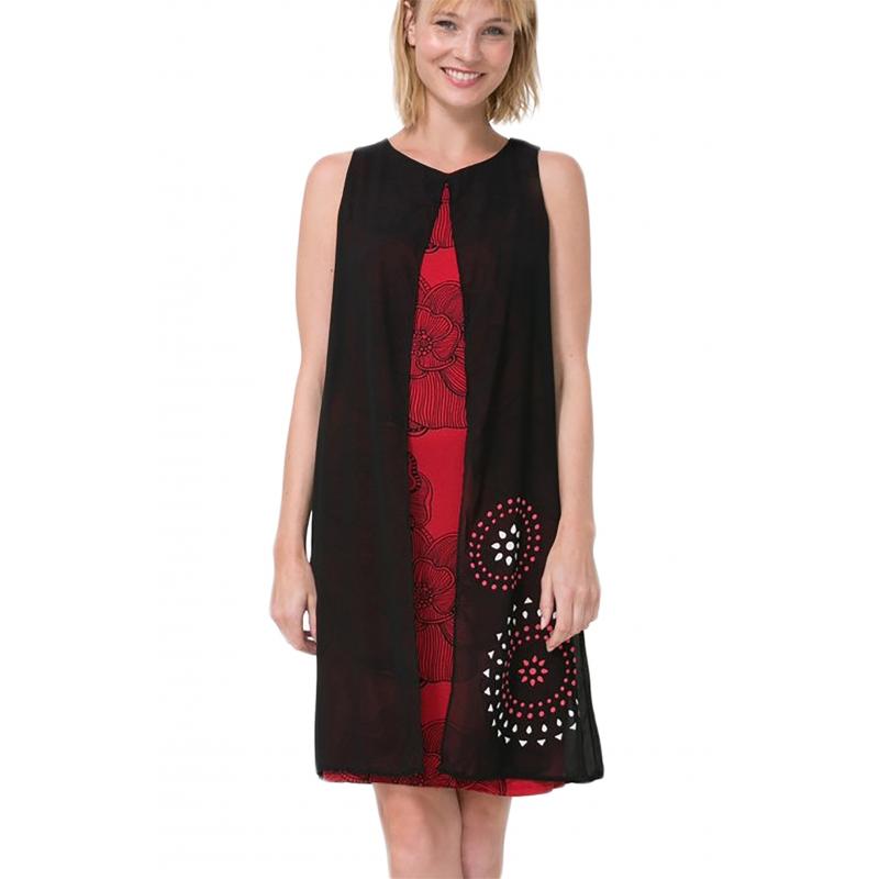 3e586e8cec541 Desigual 72V2ET0 2000 vestito corto donna color nero e rosso
