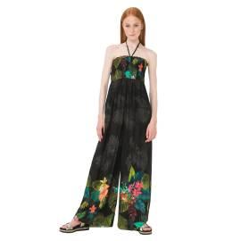 Desigual 74M2WC3 2000 tuta salopette donna con stampa floreale color nero