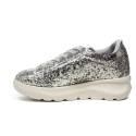 Fornarina sneaker donna con zeppa con trama glitterata colore argento articolo PE17VH9545G090 VENERE SILVER CAPRI
