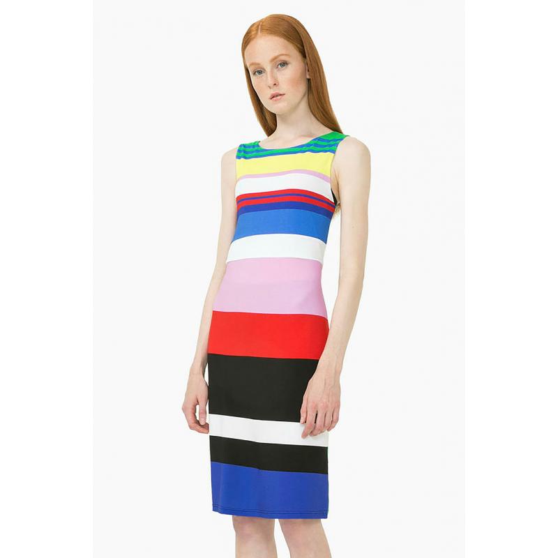 179690f6a053b Desigual 73V2WX8 5020 vestito corto donna a righe con girocollo multicolore