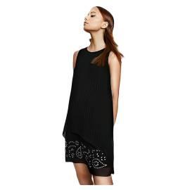 Desigual 71V2GG5 2000 vestito corto donna tessuto plisse color nero