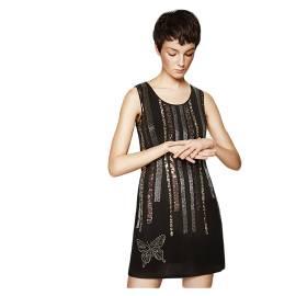Desigual 71V2GB9 2000 vestito corto donna con paillettes e dettagli dorati in contrasto, color nero