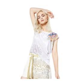 Desigual 72T2EQ6 1024 t-shirt donna con stampa floreale color bianco