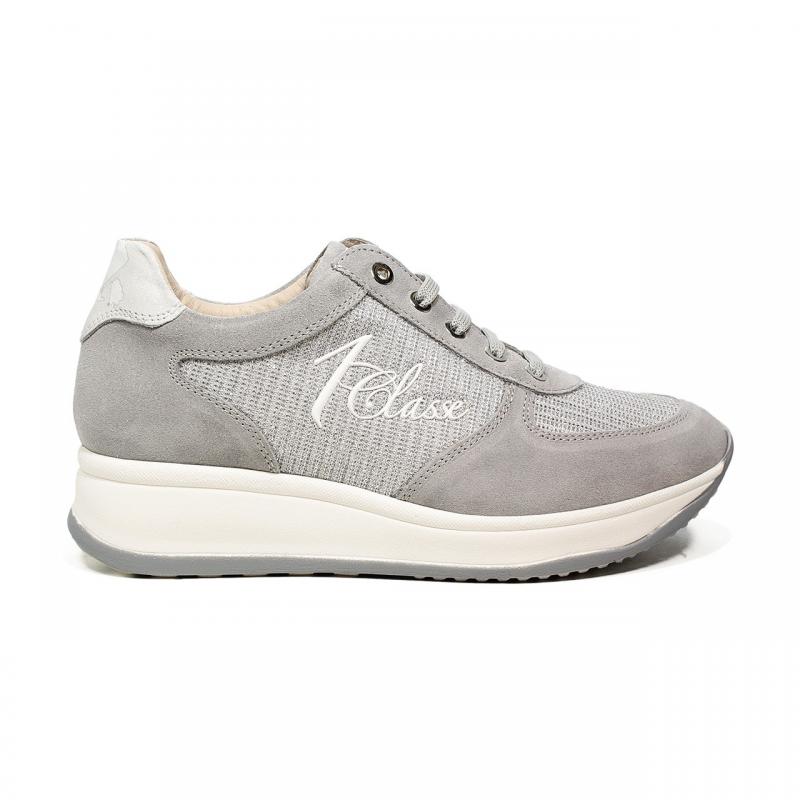 de6583e6f3e9fd Alivero Martini 1 Classe sneaker donna in pelle stringata colore argento  articolo CRG1 H100
