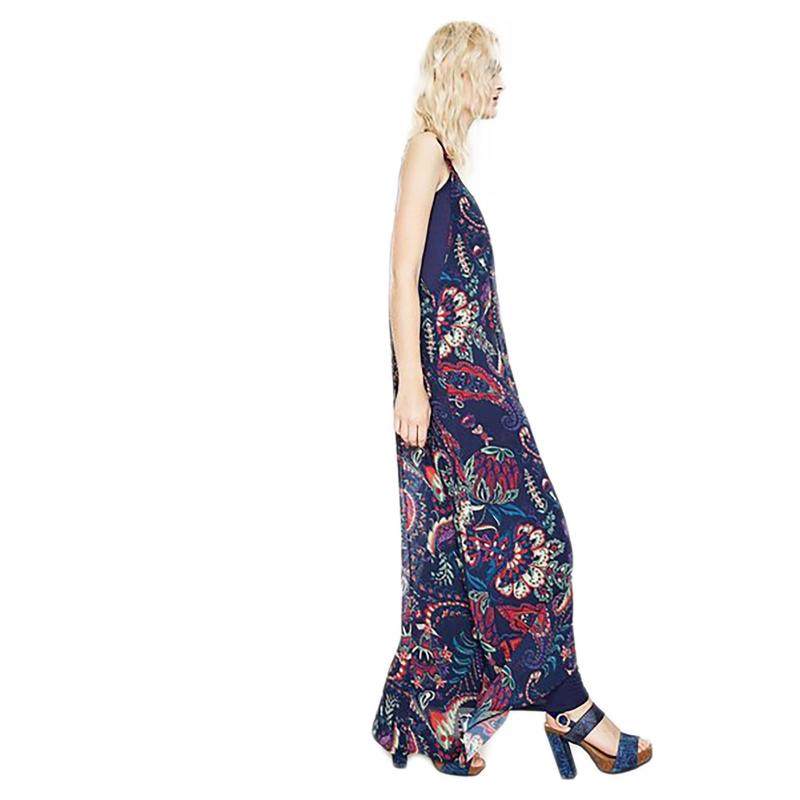 f89f3addc56d Desigual 73V2EW2 5001 vestito lungo donna con motivo cachemire ...