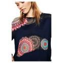 Desigual 72J2EM3 5000 maglia manica lunga donna con parti in chiffon, color blu