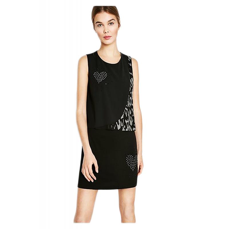 29cb668e806ba Desigual 72V2EX5 2000 vestito corto donna con texture leopardo ...