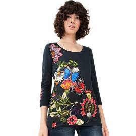 Desigual 71T2GH6 5001 women's t-shirt with 3/4 sleeves, blue