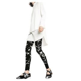 Desigual 73K2YA7 2000 leggings donna color nero con stampa floreale in contrasto bianco
