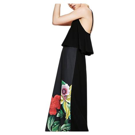 Desigual 73V20H0 2000 vestito lungo donna color nero con stampa floreale