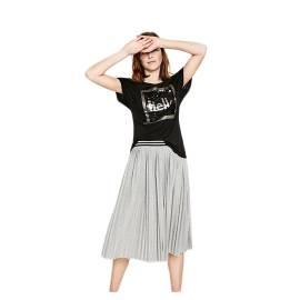 Desigual 72T2EJ9 2000 women's t-shirt with reversible paillettes, black