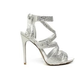 Ikaros sandalo gioiello elegante con tacco alto colore argento articolo B 2727 ARGENTO