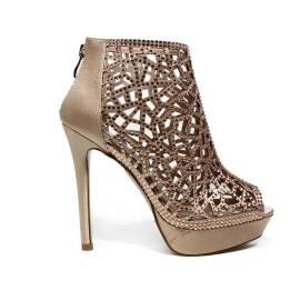 Ikaros sandalo tronchetto gioiello elegante spuntato con tacco alto color cipria articolo B 2718 NUDE