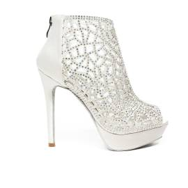 Ikaros sandalo tronchetto gioiello elegante spuntato con tacco alto color bianco articolo B 2718 BIANCO SPOSA