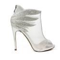 Ikaros sandalo tronchetto gioiello elegante spuntato con tacco alto colore argento articolo B 2608 ARGENTO