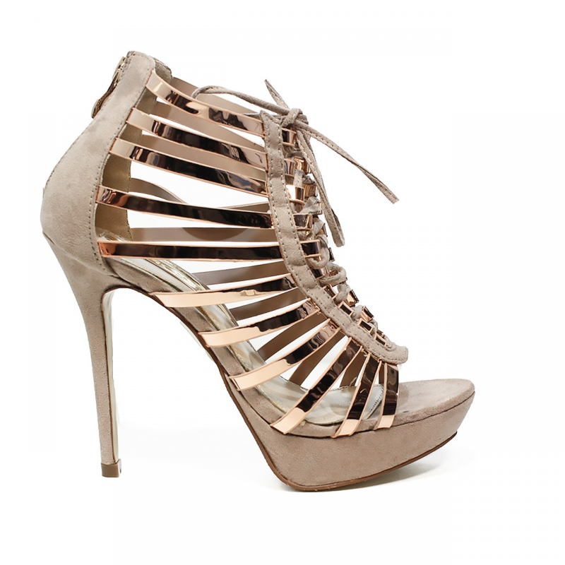Ikaros sandalo tronchetto gioiello elegante con tacco alto colore naturale  articolo B 2711 NUDE