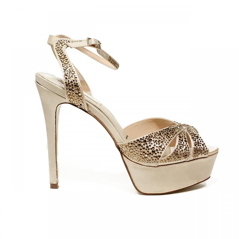 ikaros sandalo gioiello elegante con tacco alto color oro