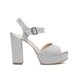 NERO GIARDINI P717861DE 705 GHIACCIO sandalo elegante donna con tacco spesso, color ghiaccio