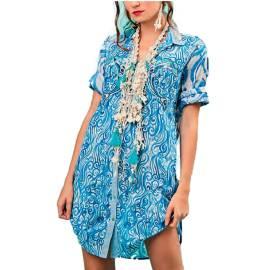Antica Sartoria Positano S963 MULTI abito da mare donna multicolore, con stampa onde del mare
