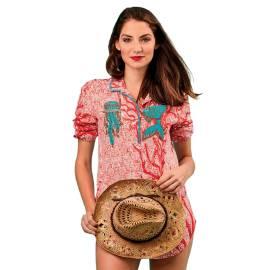 Antica Sartoria Positano S719 ROSSO camicia donna multicolore, con stampa medusa