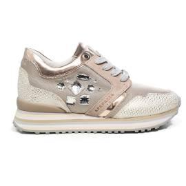 Apepazza sneaker con pietre nel lato color cipria articolo RDS03