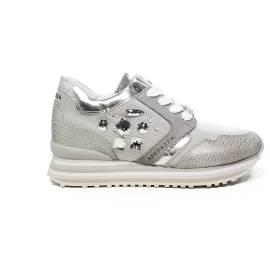 Apepazza sneaker con pietre nel lato color ghiaccio RDS03