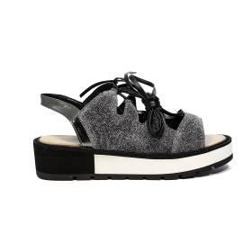Apepazza sandalo basso glitterato con lacci color argento articolo DLS03