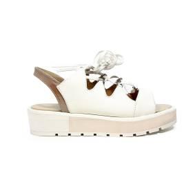 Apepazza sandalo basso glitterato con lacci color bianco sporco articolo DLS03