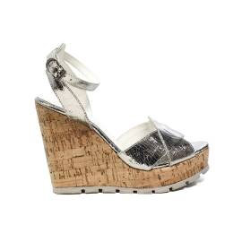 Apepazza sandal with high wedge silver mirrored color article FRT47