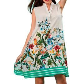 Antica Sartoria Positano D117 BIANCO blusa donna con stampa floreale, color bianco