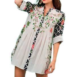 Antica Sartoria Positano S950 MULTI abito da mare donna, con lavorazione plisse e stampa floreale, multicolore
