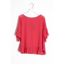 Sandro Ferrone M16 MA2453 PE17 ROSSO camicia caftano donna bordi plisse color rosso