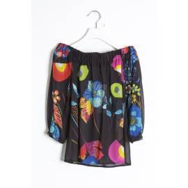 Sandro Ferrone C28 STRONG322 PE17 UNICA camicia donna con elastico, stampa macro, multicolore