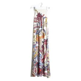 Sandro Ferrone C62 LOLLY PE17 UNICA long gown decollete woman, giant cashmere, multicolored