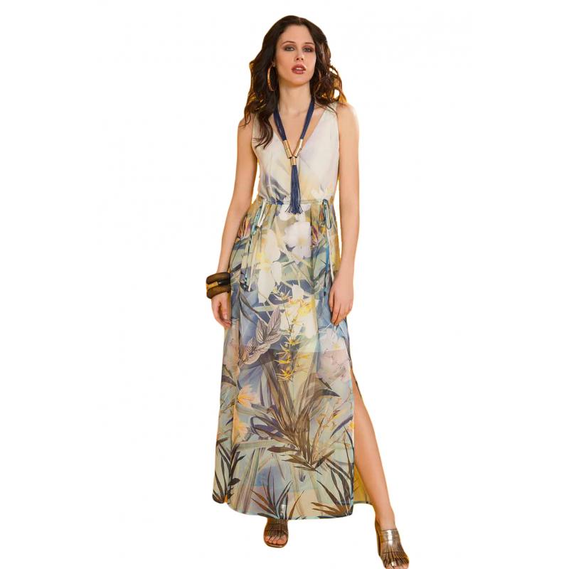 EDAS GUANACO BLU abito donna con scollatura 4d17cba0ba6