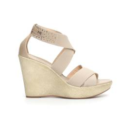 Nero Giardini sandalo donna con zeppa alta colore beige articolo P717640D 412