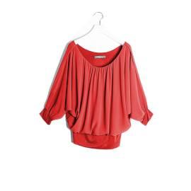 Sandro Ferrone M16 1512 PE17 ROSSO camicia kimono georgette donna, color rosso